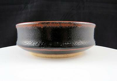 """Asian Art Pottery Signed Brown High Gloss Stippled 5 1/2"""" Bowl"""