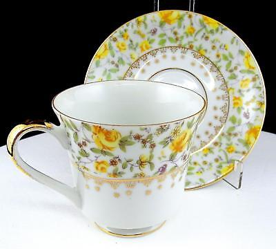"""German Porcelain #10177 Yellow Floral And Gold 3 1/8"""" Footed Cup And Saucer"""