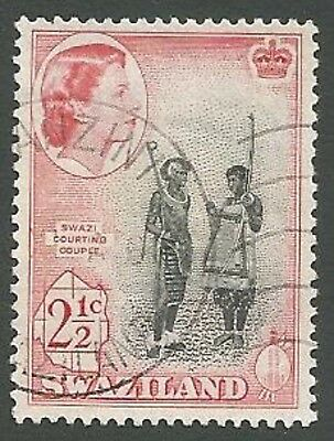Swaziland Scott# 83, Courting Couple, 2½c, Used, Rose-red, 1961