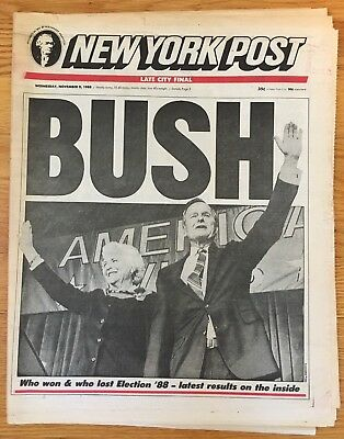 1988 NEW YORK POST Newspaper GEORGE H.W. BUSH WINS ELECTION Michael Dukakis