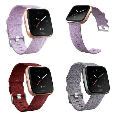 Woven Fabric Wrist Strap Watch Band w/ Classic Stainless Buckle For Fitbit Verse
