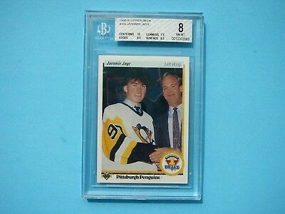 1990/91 Upper Deck Hockey Card #356 Jaromir Jagr Rookie Beckett Bgs 8 Sharp+ Ud