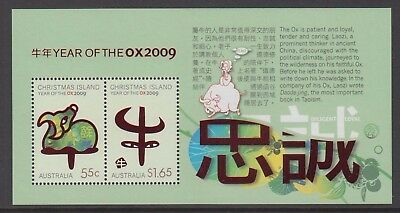 Christmas Island  2009 Year of the Ox Mint unhinged mini sheet