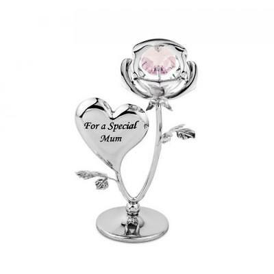 Crystocraft Special Mum Ornament Swarovski Crystal Flower Heart Figurine Gift