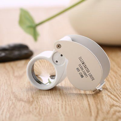40x25mm Magnifying Glass Magnifier Jeweler Eye Jewelry Loupe Loop With LED Light