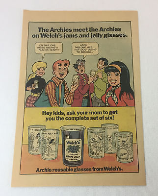 1972 Welch's Jelly glasses ARCHIE cartoon ad page