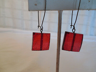 Ruby red crackled glass pierced earrings