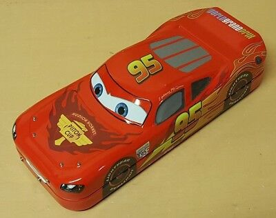 Walt Disney Store / Pixar Cars 2 Lightning Mcqueen Pencil Tin With Wheels Used