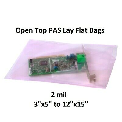 """3 x 5"""" to 12x15"""" Pink Lay Flat Anti-Static Poly Bags 2mil Boards Electronics PAS"""