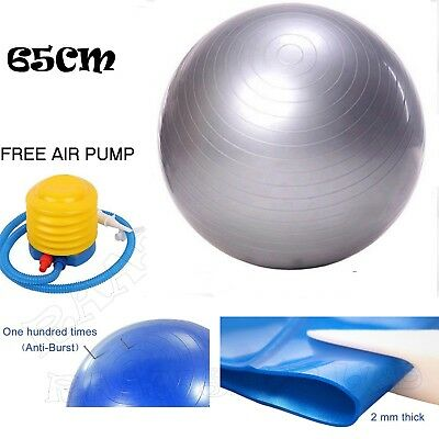 65cm ANTI BURST YOGA EXERCISE GYM PREGNANCY SWISS FITNESS ABS BALL + PUMP SILVER