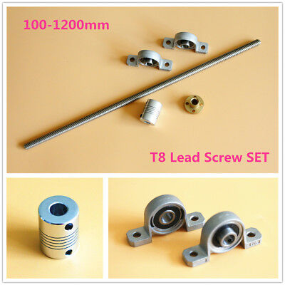 T8 Lead Screw Set Lead 2/8 & Nut & Shaft Coupler & Vertical Bearing UP TO 1200MM