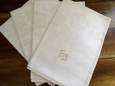 4 Antique Linen Monogram Damask Towels European Rose Pattern Unused