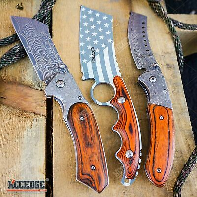 3PC US Flag FIXED CLEAVER + Damascus Etched CLEAVER + CLEAVER SHAVER Style