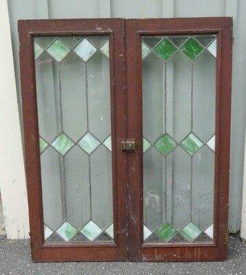 Pair of Antique OAK Bookcase or Cabinet Leaded Stained Glass Doors MISSION STYLE
