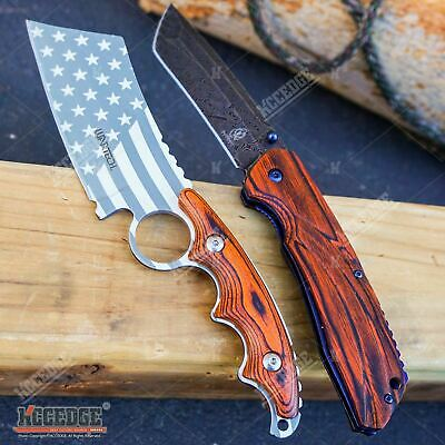2PC COMBO Chrome American Flag FIXED CLEAVER + Damascus Etched TANTO CLEAVER