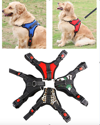 No Pull Adjust. Dog Pet Vest Harness w. Handle - Quality Nylon - S M L XL XXL