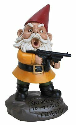 Big Mouth ANGRY LITTLE GARDEN GNOME - Scarface GUN Machine Gnome YARD Figure