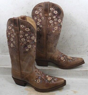 57a32e22f66 SHYANNE WOMENS FLORAL Embroidered Brown Western Cowboy Boots Shoes size 7 M
