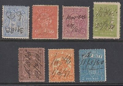 VICTORIA 1884-96 STAMP DUTY - 7 values - Fiscal cancels