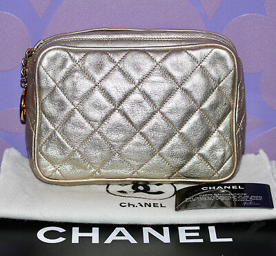 6c0b4a1aed7c47 CHANEL Quilted *Metallic Gold* Lambskin Accessory Pouch Clutch Cosmetic Bag  GHW!
