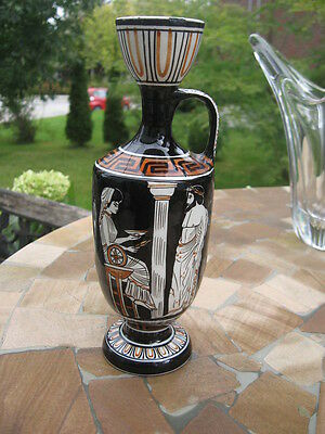 "vintage hand made pitcher pottery made in greece hand painted black 8""in tall"