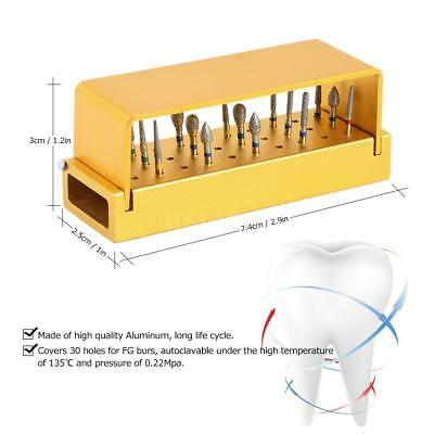 30 Holes Dental Burs Drill Disinfection Aluminum Block Handpiece Holder Kit X6A1
