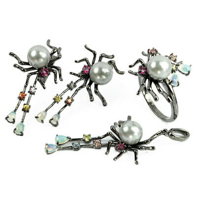 Genuine Aaa Gray Pearl Sapphire & Opal Sterling 925 Silver Spider Set Size 8.25