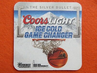 2013 Beer Coaster ~ COORS Light Silver Bullet ~ Ice COLD Basketball Game Changer