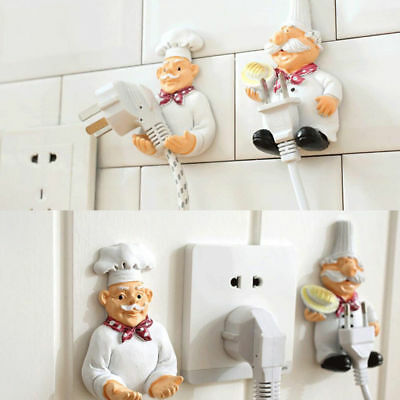 Chef Resin Cook Power Plug Cable Socket Holder Door Self-adhesive Storage Decor