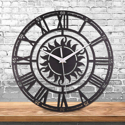 Large Outdoor Garden Wall Clock Big Roman Numerals Giant Open Face Metal 30,60Cm