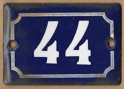 Cute old blue French house number 44 door gate plate plaque enamel metal sign