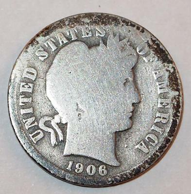 1906 BARBER LIBERTY HEAD Dime 10 Cents Ten Cent 90% Silver Coin