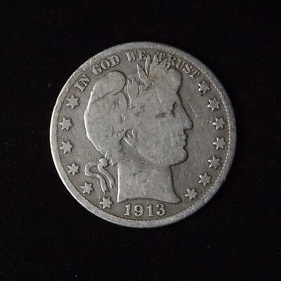 1913-S 50C Barber Half Dollar Circulated Us Type Coin