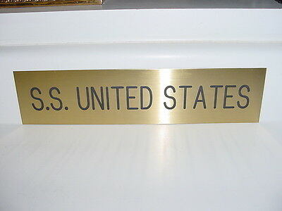 SS UNITED STATES LINES  Brass Slider Sign  /  Top Condition