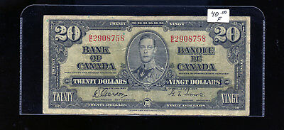 1937 Bank of Canada $20 Gordon Towers BL5002