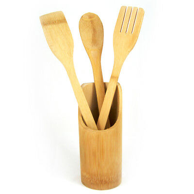 4 Pc Set Bamboo Wooden Kitchen Tools Cooking Utensil Spatula Spoon Fork Chef New
