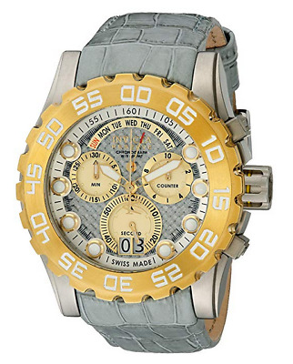 NWOT Men's Invicta 12484 Excursion Gray Leather Strap Silver Chrono Dial Watch