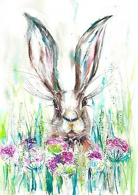 Running Hare Abstract Watercolor Rabbit Painting Art Print by Artist DJ Rogers