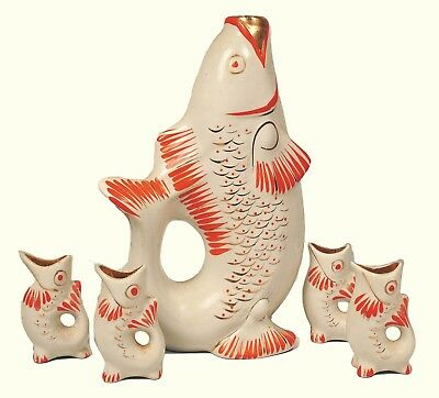 USSR : 1960s RUSSIAN : Polonne ZHK Glazed Porcelain FISH Decanter & Shot Glasses