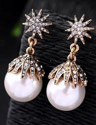 White Pearl Ear Drop Dangle Stud Ancient Gold long Tassels Pearl Earrings