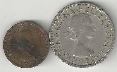 2 OLDER COINS from GREAT BRITAIN - 1 FARTHING & 2 SHILLINGS (BOTH DATING 1955)