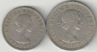 2 DIFFERENT COINS from GREAT BRITAIN - 2 SHILLINGS & HALF CROWN (BOTH 1962)