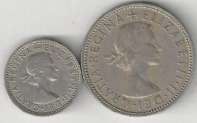 2 DIFFERENT COINS from GREAT BRITAIN - 6 PENCE & 2 SHILLINGS (BOTH DATING 1964)
