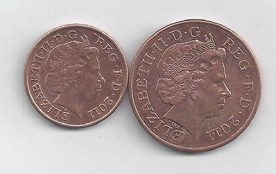 2 NICE COINS from GREAT BRITAIN - 1 PENNY & 2 PENCE (BOTH DATING 2011)