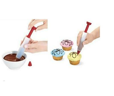 2018 DIY Syringe Cake Cupcake Pastry Cream Chocolate Silicone Writing Pen D
