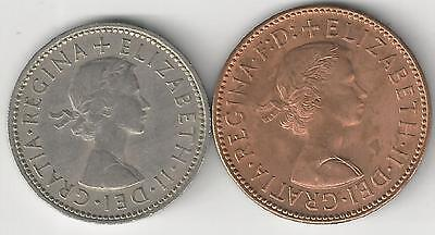 2 DIFFERENT COINS from GREAT BRITAIN - 1/2 PENNY & 1 SHILLING (BOTH DATING 1963)