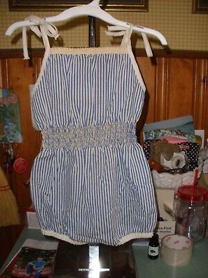 Vintage Little Toddler Baby Girl's Blue Striped Spaghetti Strap Romper 3T