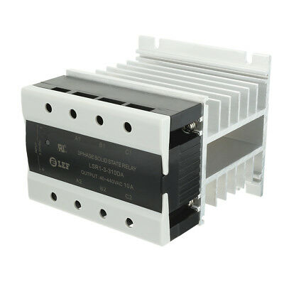 DC to AC 10A 3-32VDC to 40-440VAC SSR 3 Phase Solid State Relay + Heat Sink