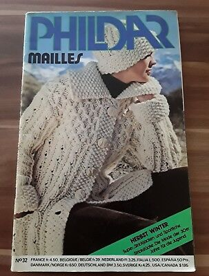PHILDAR Mailles Nr. 32, Strickheft, Herbst / Winter, altes Handarbeitsheft