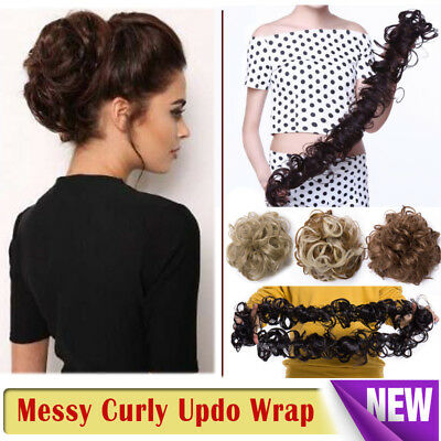 Scrunchie Updo Wrap Curly Messy Bun Hair Piece Hair Extensions Real as human REL